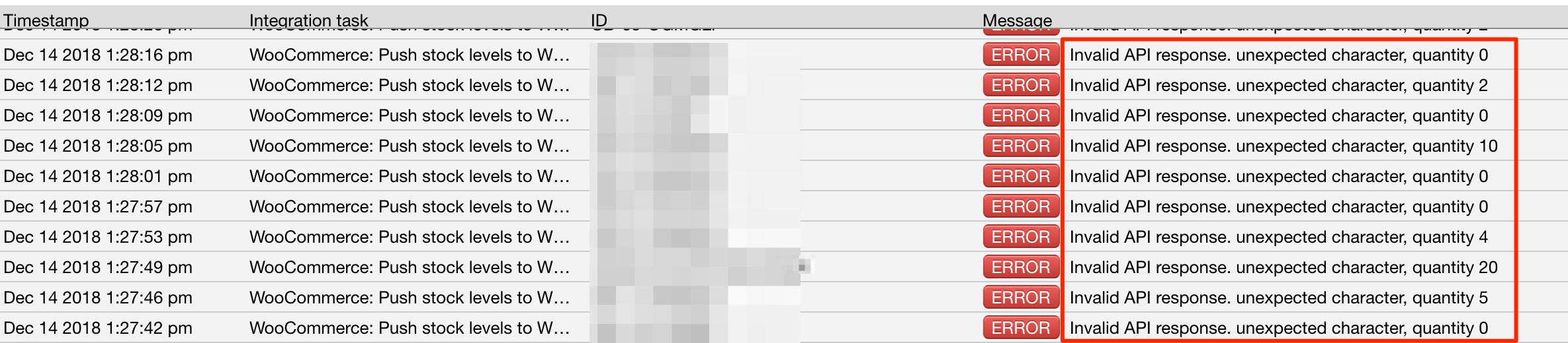 Invalid API response, unexpected character violation